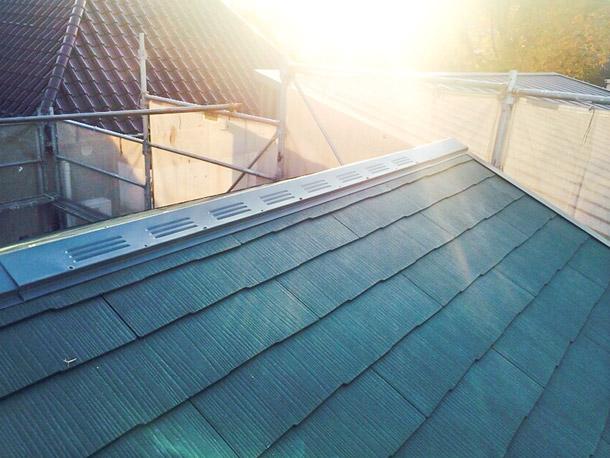 最近流行ってるらしい?緑屋根の家も素敵です。