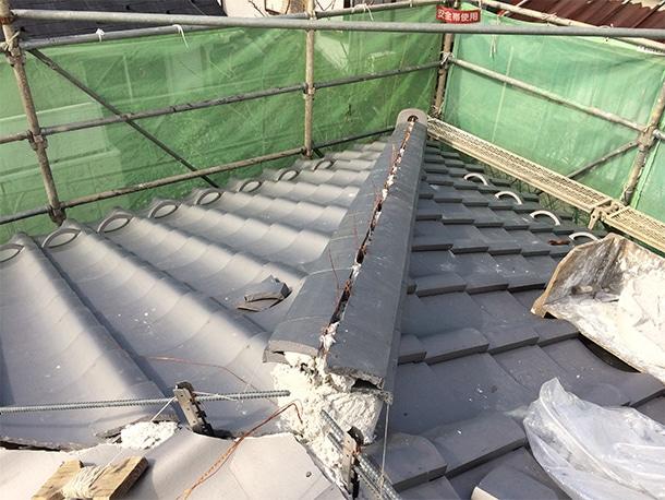 東京都杉並区、日本瓦の耐震屋根リフォーム、葺き替え工事、耐震鉄筋工法1