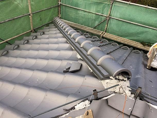 東京都杉並区、日本瓦の耐震屋根リフォーム、葺き替え工事、耐震鉄筋工法2