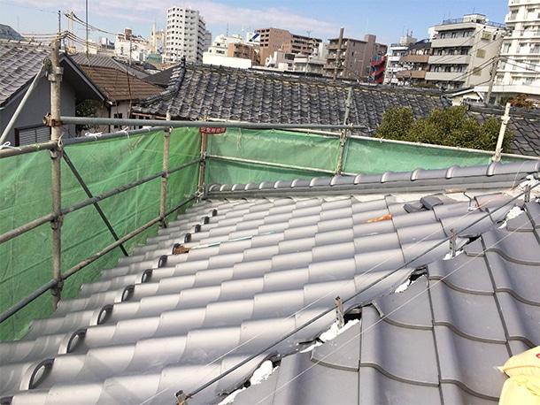 東京都杉並区、日本瓦の耐震屋根リフォーム、葺き替え工事、耐震鉄筋工法4