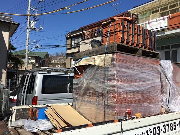 神奈川県湯河原市、丸栄ローマンLL40R、平板瓦の工事2