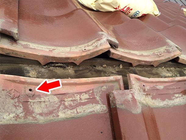 東京都杉並区、和型の釉薬瓦の屋根の棟の取り直し、ガイドライン鉄筋工法、安心で確実な耐震化2