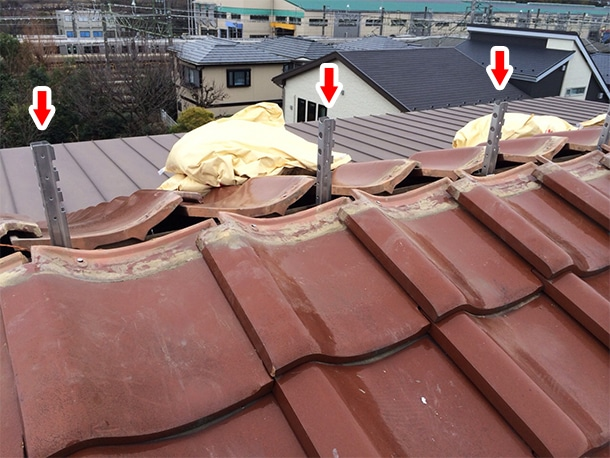 東京都杉並区、和型の釉薬瓦の屋根の棟の取り直し、ガイドライン鉄筋工法、安心で確実な耐震化6