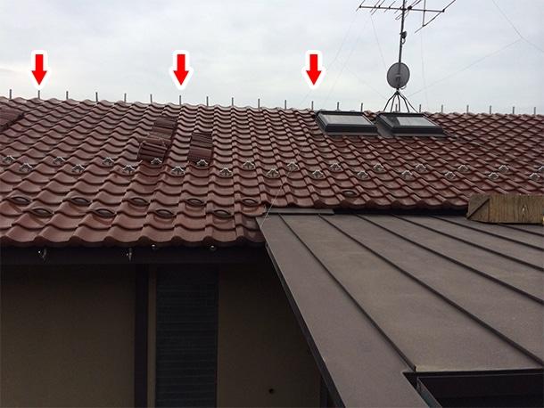 東京都杉並区、和型の釉薬瓦の屋根の棟の取り直し、ガイドライン鉄筋工法、安心で確実な耐震化7