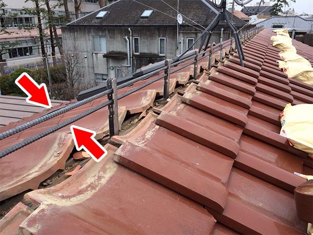 東京都杉並区、和型の釉薬瓦の屋根の棟の取り直し、ガイドライン鉄筋工法、安心で確実な耐震化8