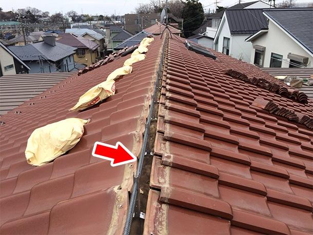 東京都杉並区、和型の釉薬瓦の屋根の棟の取り直し、ガイドライン鉄筋工法、安心で確実な耐震化9