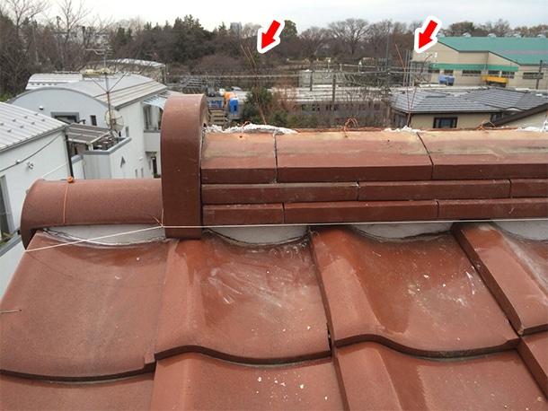 東京都杉並区、和型の釉薬瓦の屋根、棟の取り直し、棟瓦の耐震化4