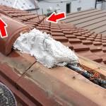 東京都杉並区で和型の釉薬瓦の屋根の棟の取り直し。熨斗積み棟瓦の耐震化の仕上げで工事完了しました。