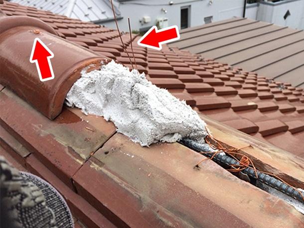 東京都杉並区、和型の釉薬瓦の屋根、棟の取り直し、棟瓦の耐震化5