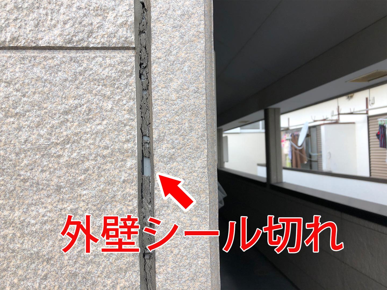 外壁シール切れ