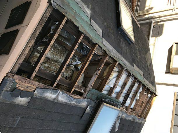 スレート屋根の下地ごと飛んだ事例