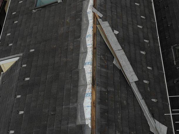 スレート屋根材が部分的に飛んだ事例③