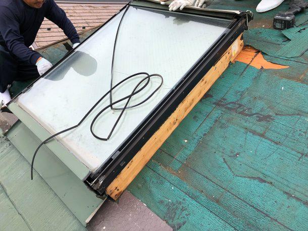 天窓交換工事事例 周辺屋根材の撤去