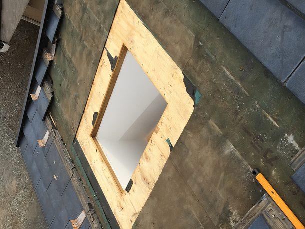 天窓撤去工事事例 古い天窓の撤去