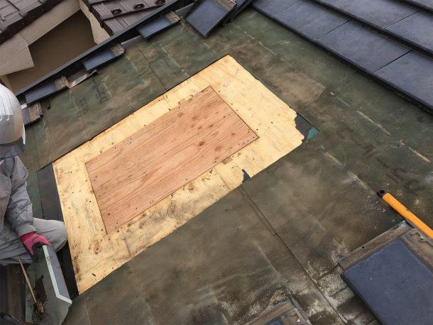 天窓撤去工事事例 新しい屋根下地の施工