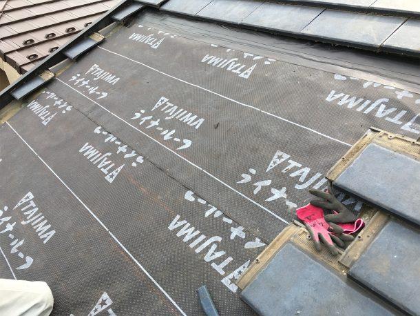 天窓撤去工事事例 新しい防水シートの施工