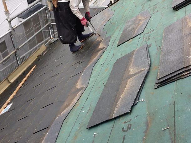 古い屋根材を撤去して、葺き替え