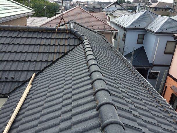 和瓦、洋瓦の屋根の棟 丸1本伏せ