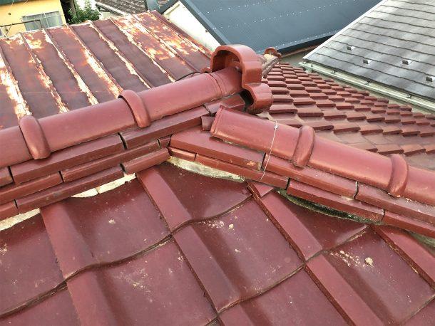 和瓦、洋瓦の屋根の棟 熨斗積み