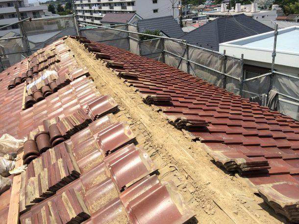 和瓦、洋瓦の屋根 棟取り直し工事1