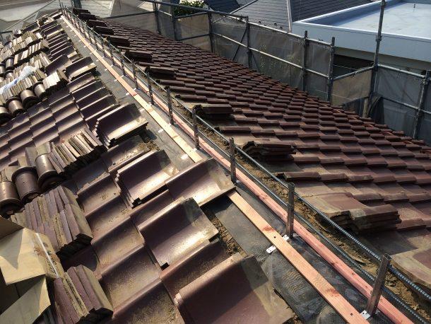 和瓦、洋瓦の屋根 棟取り直し工事2