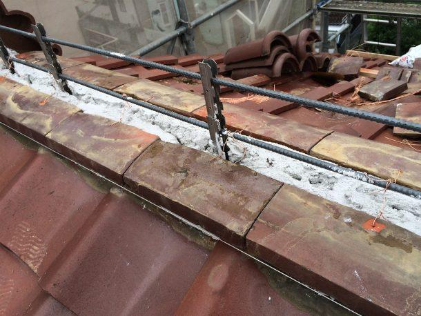 和瓦、洋瓦の屋根 棟取り直し工事3
