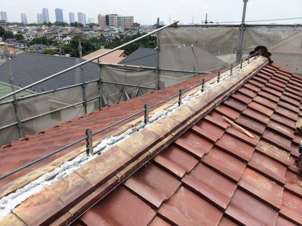 和瓦、洋瓦の屋根 棟取り直し工事4