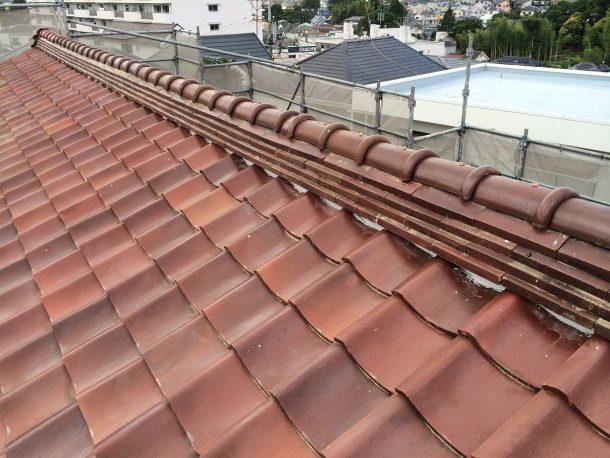和瓦、洋瓦の屋根 棟取り直し工事6
