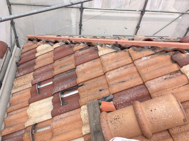 和瓦、洋瓦の屋根 棟取り直し工事8