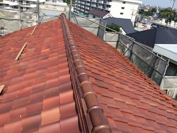 和瓦、洋瓦の屋根 棟取り直し工事11