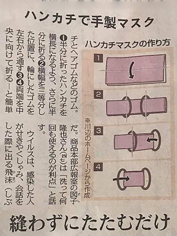 マスクの作り方 3月12日の東京新聞で紹介された方法