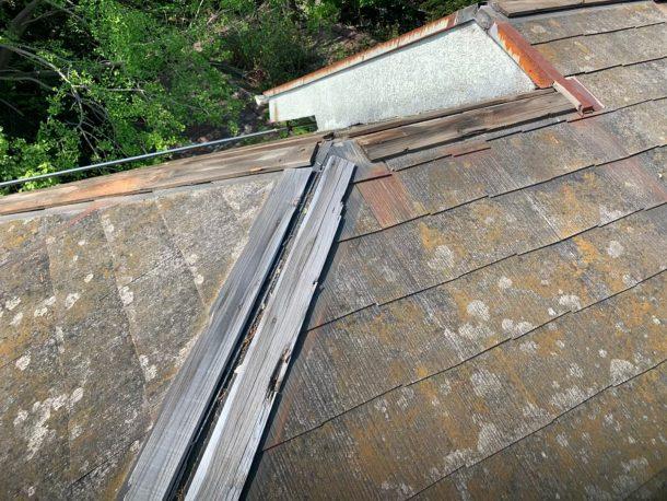 【横浜市中区】台風被災、スレート・コロニアル屋根、棟板金の交換修理工事の事例2