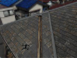 【千葉市稲毛区】台風被災、スレート・コロニアル屋根、棟板金の交換修理工事の事例29