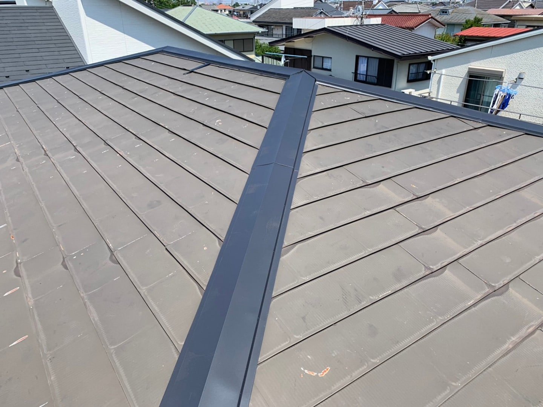 【千葉県市原市】台風で被災した金属屋根、棟板金の交換修理工事の事例9