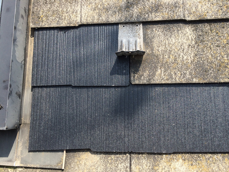 【東京都八王子市】スレート・レサス屋根、棟板金の交換工事と、ひび割れ修理の事例30