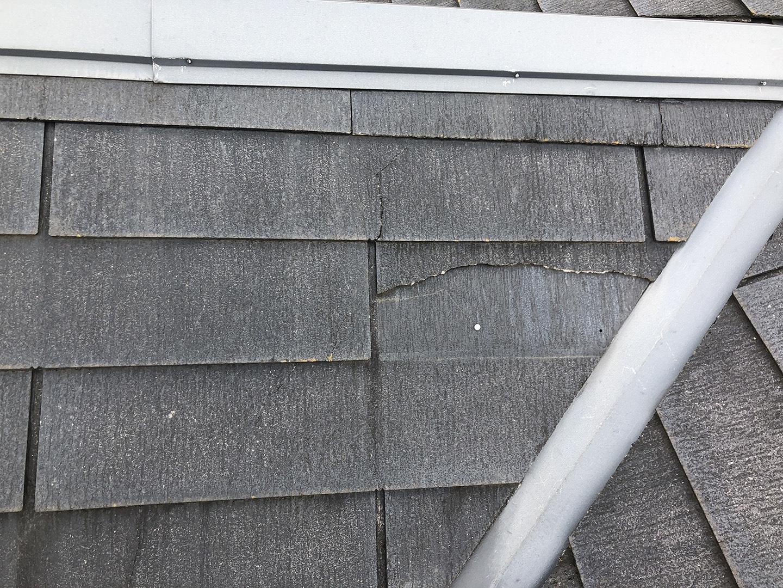 【東京都調布市】スレート屋根の棟板金の釘の増し打ち、ひび割れ補修工事の事例3