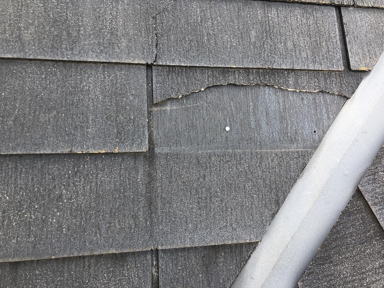 【東京都調布市】スレート屋根の棟板金の釘の増し打ち、ひび割れ補修工事の事例4