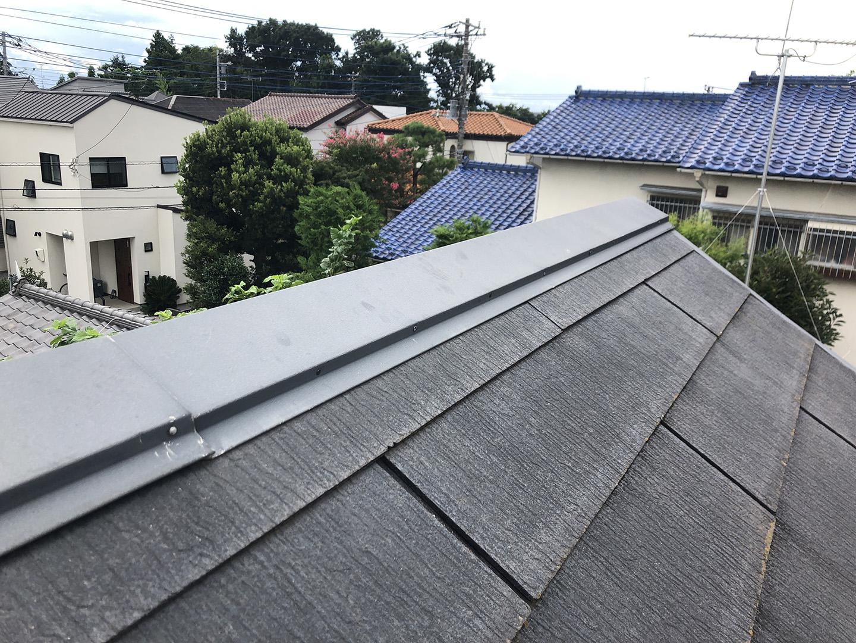 【東京都調布市】スレート屋根の棟板金の釘の増し打ち、ひび割れ補修工事の事例11