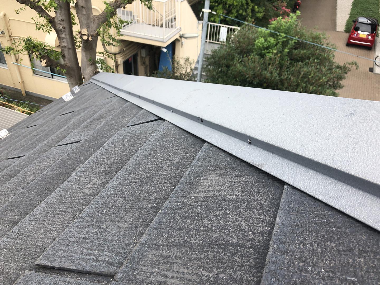 【東京都調布市】スレート屋根の棟板金の釘の増し打ち、ひび割れ補修工事の事例12