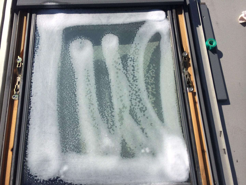 ベルックス天窓 ガラスシール工事 ガラス清掃