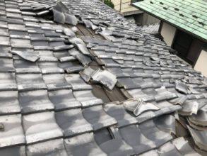 台風における瓦屋根の被害