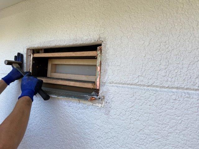 外壁塗装 フード塞ぎ 古いフード撤去