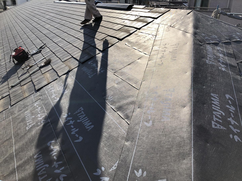 【横浜市鶴見区】スレート屋根の雨漏り、部分修理工事の事例 防水シート施工