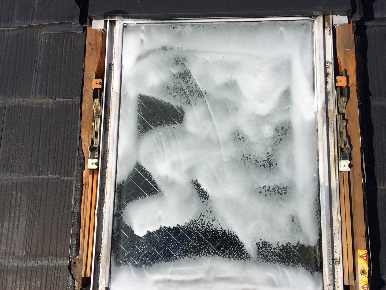 ベルックス天窓雨漏り修理事例 ガラス清掃