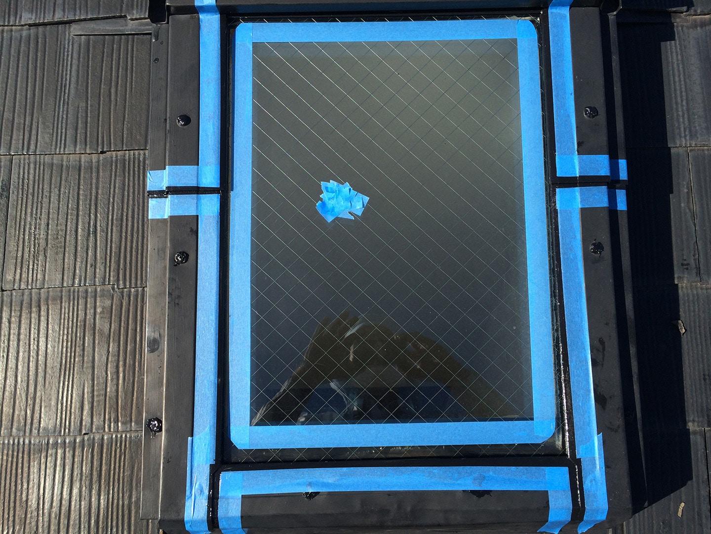 ベルックス天窓雨漏り修理事例 ガラス養生
