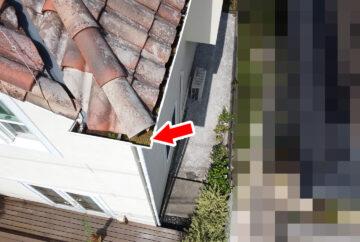 【東京都八王子市】瓦屋根の割れ修理、雨どい掃除の工事事例 雨どいの詰まり