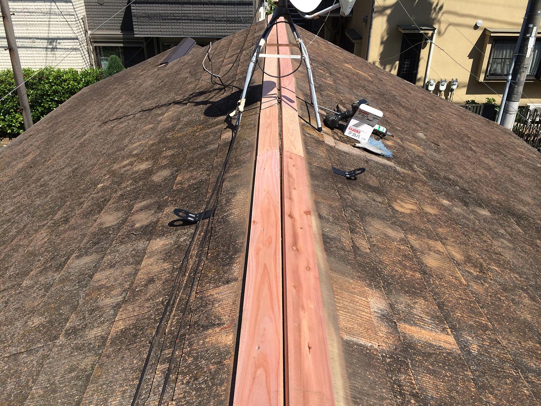 東京都大田区 スレート屋根 棟交換工事 防腐処理済み木材の設置