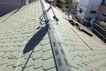 横浜市青葉区 屋根裏の結露対策の棟換気の設置工事 完了