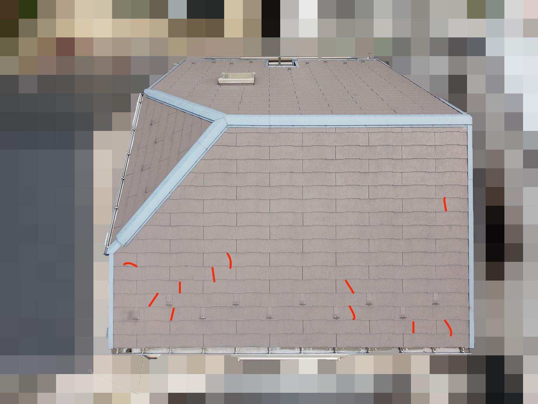 【東京都大田区】スレート屋根の天窓雨漏り ドローン南面 ひび割れ箇所