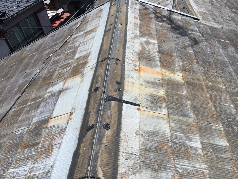 【横浜市瀬谷区】スレート屋根、棟板金の交換修理の工事の事例 釘穴の防水補修